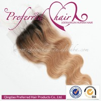 4*4 base size competitive prices 20'' ombre color natural wave texture brazilian virgin hair lace closure with baby hair