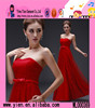 2015 Fashion High Quality Strapless Party Dress Wholesale Long Style Sexy Ladies Red Lace Evening Dress