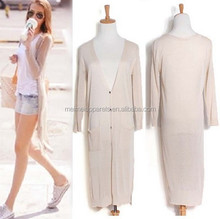 Long knit ladies cardigan ice cream color fashion thin model