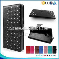 Wallet leather Case for Archos 50 helium plus With Stand,Crystal flash powder bling bling case for Archos 50 helium plus case