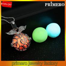 Angel Wing Silver Glow In Dark Locket Pierced Hollow Round Pendant Luminous Charm Necklace