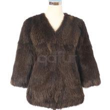 qd30402 ropa para mujer 2014 de piel de zorro abrigo de invierno chaqueta de las mujeres parkas cuello de piel