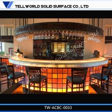 Hot sale high quality curved LED bar counter for nightclub commercial furniture