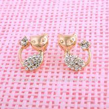 Wholesale 2012 New Fashion Kitten Women CZ Rhinestone Golden Drop Earring 18K Gold Plated