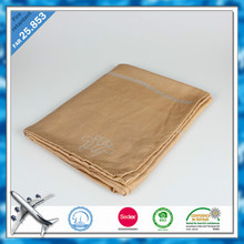 Yellow Color Modacrylic flame retardant woven jacquard airline blanket fire proof blanket in Shaoxing
