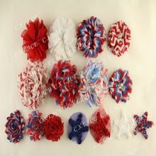red white blue flag chevron lace flower in stock for July 4th Independence Day