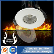 IP65 Fire check 3W 5W 8W 10W Sharp / Bridgelux COB Satin white /Nickel/ Chrome finish fire rated led downlight
