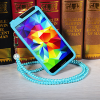 Professional OEM PU Mobile Phone Leather Case Cover Case For Samsung Galazy S5 With Long Strap