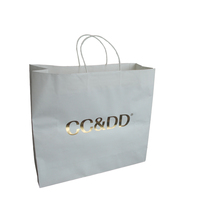 hot stamping printing white paper bags with handles for shopping
