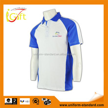 2015 wholesale high quality cotton design your own polo shirts white and blue