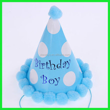Made in china blue color prince boy birthday hat