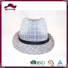 Alibaba China supplier grid cotton fedora hat