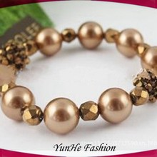 factory direct artificial brown pearl chain bracelets