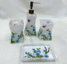 pearl cream resin bathroom accessory set of 6