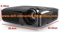 """2 5000 lumen short throw projector 22sqm rear projection film 10 points 42"""" touch foil 2 cling mount 2 projector tripod trolley"""