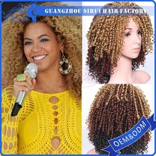 Top quality fashion style wig, cheap heat resistant ombre color afro short kinky curly synthetic wigs