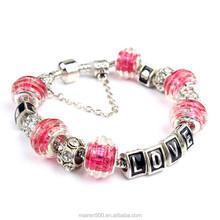 PDR076 Luxury Charm Bracelet & Bangle For Women With High Quality European Style Murano Glass Bead Charm Bracelet