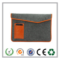 Latest Designed Gray Felt Laptop Case Bag Sleeve Protector with Authentic Triangle Leather Flap