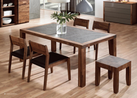 Modern Vintage Style Latest Dining Table Designs Solid Walnut Wood Model Dining Table Base Wood Legs