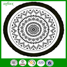 100% Cotton reactive printed round beach towel with tassels for Australia