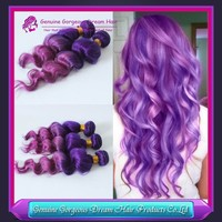 Wholesale 7a virgin brazilian remy human hair Loose wave #Purple/pink Ombre Human Hair Extensions