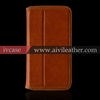 ultra slim smooth real leather case for iphone with stand-up function