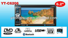 Double Din 6.2inch car DVD/DIVX/MP4/AM/FM/BT/USB/SD with Touch screen player YT-C6206
