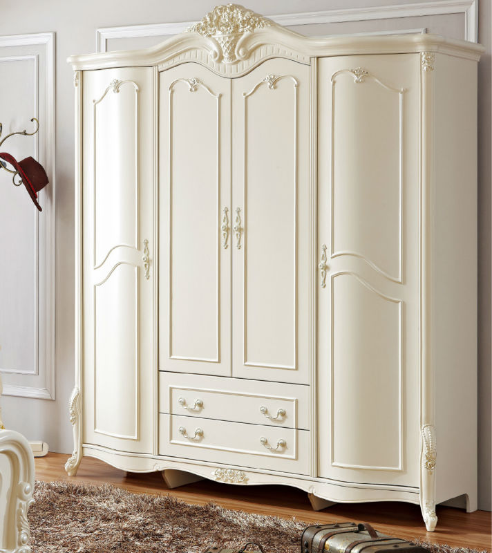 antique solid wood armoire wardrobe four door white. Black Bedroom Furniture Sets. Home Design Ideas