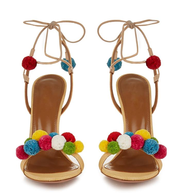 2016 trend style colorful fur ball strap heel sandal women