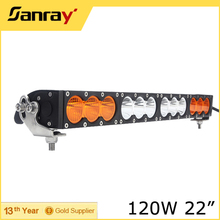 Single row Multi-Color 22inch 120W Amber and White Car Led Offroad Light Bar for Car Jeep