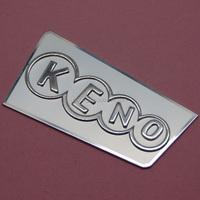 Custom made metal embossed logo