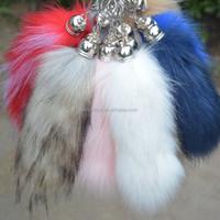 1pc/lot 15 cm-18cm Fashion long faux fox fur keychain bags/car key chains fake fox tail women accessories lover's gift