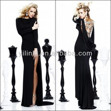 Sexy Black Bodycon Jewel Neck Long Sleeve Beading Back Spandex Evening Dresses from Dubai