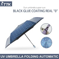 TTK Japanese small fresh star seventy percent off automatic black plastic UV weather outdoor umbrella