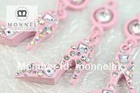 H435-1 Monnel 2015 Custom Alloy Made 3D Bling Crystal Pink Enamel High Heel Ladies Shoe DIY Metal Charm Necklace Pendant