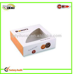 High quality paper donut packaging box with window