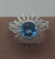 1.45ct Blue Topaz Round Cut 7.0mm 100% 14K 585 Solid White Gold Party Ring