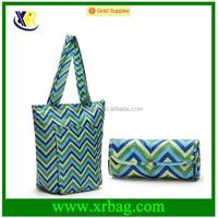 Custom designer wave printed waterproof nylon foldable tote shopping bags