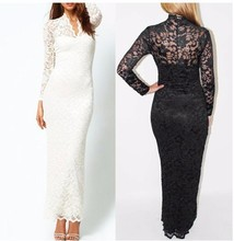 Long sleeve V - neck lace long dress sexy tight backless maxi evening dresses