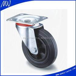 3 inch black rubber 80mm industrial rubber castor swivel top plate caster
