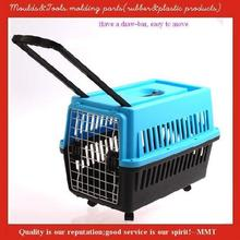 Plastic Dog crates with wheels, easy to carry, used in airplane