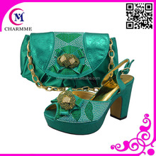 BLUE matching chunky and platform heel shoes women and bag for the party and wedding CSB-422