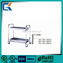 stainless steel restaurant dining trolley serving utility cart