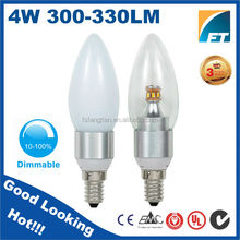 Glass Cover + Aluminum Heat sink 360 degree 4W LED Candle light bulb with all base