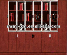 Modern Solid Wood Filing Cabinet with Glass Doors and Combination Lock