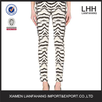 New style zebra-print skinny high-rise ladies jeans