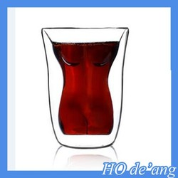 HOGIT 2015 Newest double wall tea cups glass cool design Sexy Nude Beauty high quality glass coffee cup