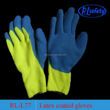 7G latex rubber palm coated work safety gloves