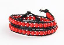 Woven handmade garnet turquoise stone beads bracelets 2-row layers african vintage indian girls bracelets
