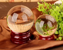 clear crystal ball with wood base k9 pure glass ball